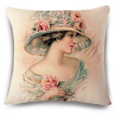 Retro Sweet Lady with Flower Hat Pattern Pillow Case