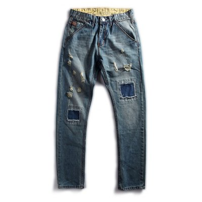 Patched Scratched Zipper Fly Ripped Jeans