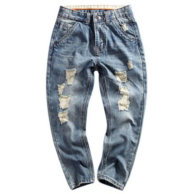Drop Crotched Zipper Fly Ripped Jeans