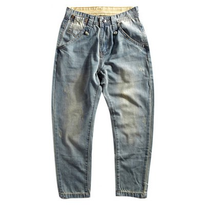 Scratch Zipper Fly Bleach Wash Jeans