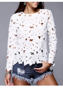 Hollow Out Pure Color Lace Tee