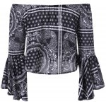 cheap Ethnic Off The Shoulder Bell Sleeves Crop Top For Women