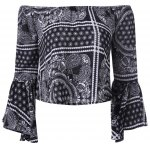 Ethnic Off The Shoulder Bell Sleeves Crop Top For Women
