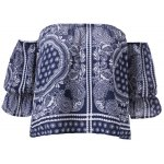 cheap Ethnic Off The Shoulder Print Crop Top For Women