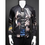 Artistic Birds Print Stand Collar Long Sleeve Jacket