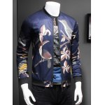 Artistic Birds Print Stand Collar Long Sleeve Jacket deal