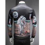 Novelty Moon Landing Print Stand Collar Long Sleeve Jacket for sale