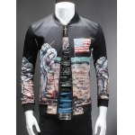 Novelty Moon Landing Print Stand Collar Long Sleeve Jacket