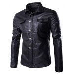 Turn-Down Collar Single Breasted Long Sleeve PU-Leather Jacket For Men