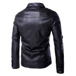 cheap Turn-Down Collar Single Breasted Long Sleeve PU-Leather Jacket For Men