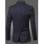 cheap Classic Striped Notched Lapel Collar Long Sleeve Blazer For Men