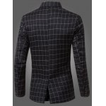 cheap Classic Notched Lapel Collar Checked Double Breasted Blazer For Men
