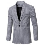 Fashion Striped Notched Lapel Collar Single Button Slim Fit Blazer For Men