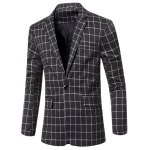 Casual Notched Lapel Collar Single Button Checked Blazer For Men