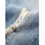 Elastic Waist Zipper Fly Ripped Jeans For Men for sale