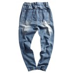 cheap Elastic Waist Zipper Fly Ripped Jeans For Men