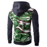 cheap Hooded Camouflage Splicing Zip-Up Long Sleeve Hoodie For Men