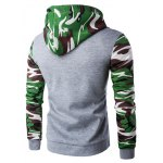 cheap Hooded Camouflage Spliced Zip-Up Long Sleeve Hoodie For Men