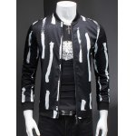 Ribbed Collar Long Sleeve Chic Striped Jacket For Men