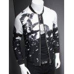 cheap Chic Eagle Print Ribbed Collar Long Sleeve Jacket For Men