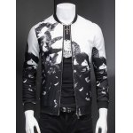 Chic Eagle Print Ribbed Collar Long Sleeve Jacket For Men