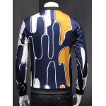 Abstract 3D Print Ribbed Collar Long Sleeve Jacket For Men deal