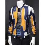 cheap Abstract 3D Print Ribbed Collar Long Sleeve Jacket For Men