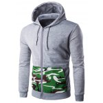 Hooded Camouflage Spliced Pocket Zip-Up Long Sleeve Hoodie For Men