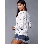 Hollow Out Pure Color Lace Tee deal