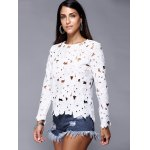 cheap Hollow Out Pure Color Lace Tee