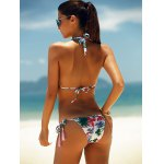 Tropical Print Lace-Up Halter Bikini Set for sale