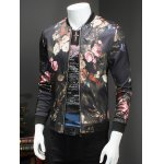 cheap Trendy Roses Print Stand Collar Long Sleeve Jacket