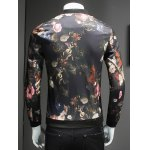 Trendy Roses Print Stand Collar Long Sleeve Jacket for sale