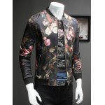 Trendy Roses Print Stand Collar Long Sleeve Jacket deal
