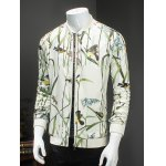 cheap Article Painting Print Ribbed Collar Long Sleeve Jacket For Men