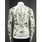 Article Painting Print Ribbed Collar Long Sleeve Jacket For Men for sale