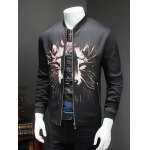 cheap 3D Wolf Print Ribbed Collar Long Sleeve Jacket For Men