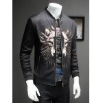 3D Wolf Print Ribbed Collar Long Sleeve Jacket For Men deal