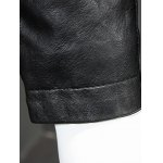 Pure Color Stand Collar Long Sleeve Leather Jacket For Men photo