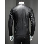 Pure Color Stand Collar Long Sleeve Leather Jacket For Men deal