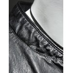 Pure Color Stand Collar Long Sleeve Leather Jacket For Men for sale