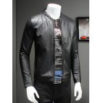 Buy Pure Color Stand Collar Long Sleeve Leather Jacket Men XL BLACK