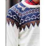 Round Neck Ethnic Style Geometric Pattern Long Sleeve Sweater For Men for sale