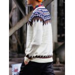 cheap Round Neck Ethnic Style Geometric Pattern Long Sleeve Sweater For Men