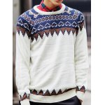 Round Neck Ethnic Style Geometric Pattern Long Sleeve Sweater For Men