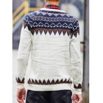 Round Neck Ethnic Style Geometric Pattern Long Sleeve Sweater For Men deal