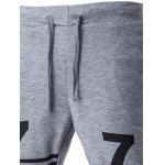 Lace-Up Stripe and Number Print Beam Feet Pants For Men deal