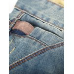 Patched Scratched Zipper Fly Ripped Jeans For Men deal