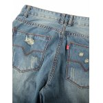 Patched Scratched Zipper Fly Ripped Jeans For Men for sale