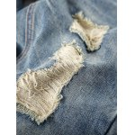 Drop Crotched Zipper Fly Ripped Jeans For Men deal